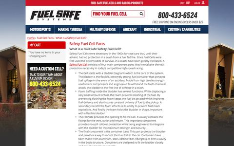 Screenshot of FAQ Page fuelsafe.com - Fuel Cell Facts - What is a Safety Fuel Cell? - captured Jan. 29, 2018