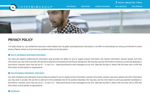 Screenshot of Privacy Page dotster.com - Privacy Policy - The Cydio Group - captured July 24, 2016