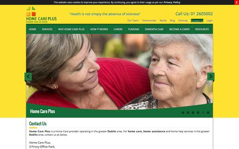 Screenshot of Contact Page homecareplus.ie - CONTACT US - captured Dec. 30, 2015