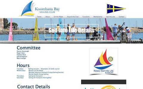 Screenshot of Hours Page koombanabay.com - Sail Into Life Details - captured Oct. 23, 2018