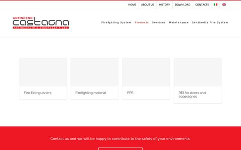 Screenshot of Products Page castagna-antincendi.it - PRODUCTS – Castagna Anticendi - captured Nov. 10, 2018