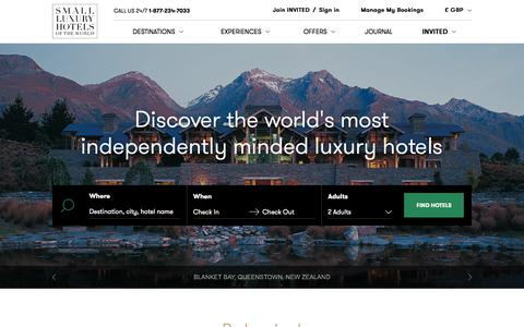 Screenshot of Home Page slh.com - Boutique Hotels & Resorts   Small Luxury Hotels of the World - captured Nov. 14, 2017