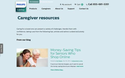 Screenshot of Support Page philips.com - Caregiver Resources | Philips Lifeline| Philips Lifeline® - captured Nov. 30, 2016