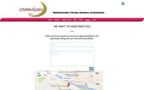 Screenshot of Contact Page monnaluna.com - Contact Us - captured June 13, 2017