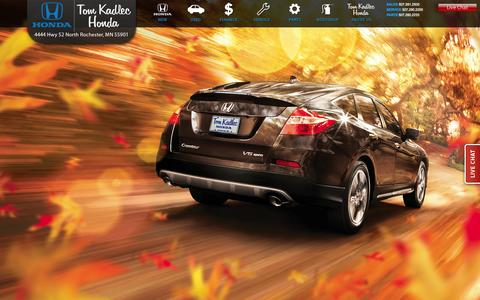 Screenshot of Home Page tomkadlec.com - Tom Kadlec Honda is a New and Used Honda Dealership We proudly serve Minneapolis, St. Paul, Lacrosse, Albertville, MN Alexandria, MN, Andover, MN Anoka Apple Valley, MN ,Arden Hills, MN, Austin, MN ,Baxter, MN ,Belle Plaine, MN, Bemidji ,Big Lake, MN - captured Oct. 7, 2014