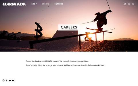 Screenshot of Jobs Page armadaskis.com - Careers - Armada Skis - captured March 4, 2018