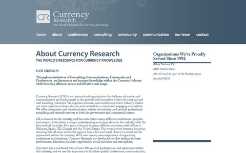 Screenshot of About Page currencyresearch.com - Currency Research  - About Currency Research - captured Sept. 30, 2014