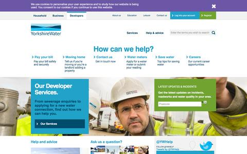 Screenshot of Developers Page yorkshirewater.com - Developers Homepage | Yorkshire Water - captured Nov. 23, 2015