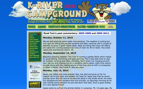 Screenshot of Press Page kriver.com - K River Campground News - captured Jan. 29, 2016