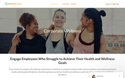 Screenshot of Pricing Page burnalong.com - Corporate Wellness Pricing - Engage Your Employees with BurnAlong - captured Nov. 2, 2018