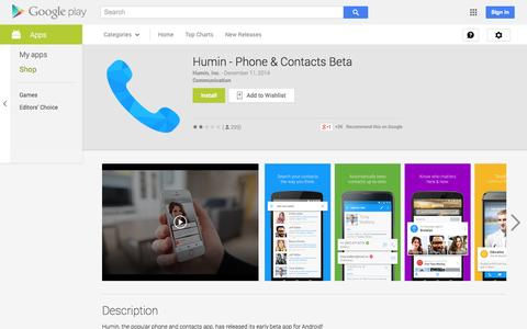Screenshot of Android App Page google.com - Humin - Phone & Contacts Beta - Android Apps on Google Play - captured Dec. 17, 2014