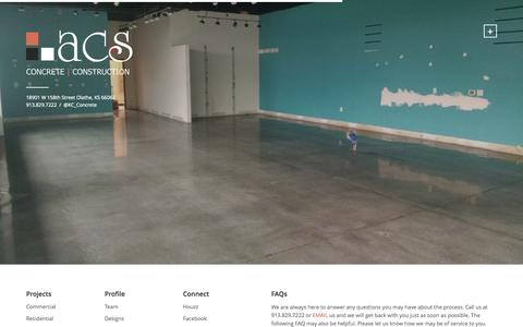 Screenshot of FAQ Page kansascityconcrete.com - FAQs «  ACS: CONCRETE | CONSTRUCTION - captured Nov. 2, 2014