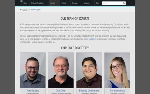 Screenshot of Team Page airchecklab.com - Our Team of Experts - Compressed Air Testing - Trace Analytics - captured Sept. 28, 2018
