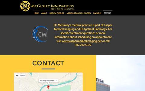 Screenshot of Contact Page mcginleyinnovations.com - McGinley Innovations | Redefining Medicine | Casper, Wyoming | CONTACT - captured Nov. 1, 2017