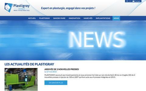 Screenshot of Press Page plastigray.com - Expertise dans l'injection et le moulage de pièces techniques en plastique. - captured July 14, 2016
