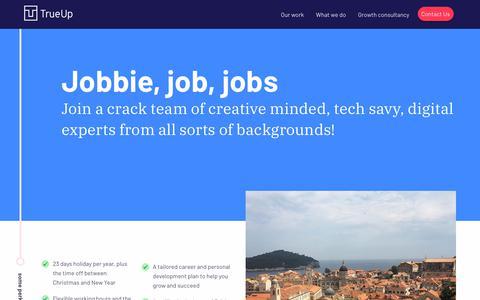 Screenshot of Jobs Page trueup.com - jobs | True Up - captured Jan. 21, 2019