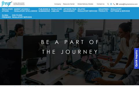 Screenshot of Jobs Page freyrsolutions.com - Freyr | Careers | Current Openings - Freyr Solutions - captured Aug. 29, 2018