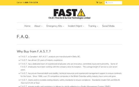 Screenshot of FAQ Page fastlimited.com - F.A.Q. – F.A.S.T. First Aid & Survival Technologies Limited - captured Nov. 19, 2016