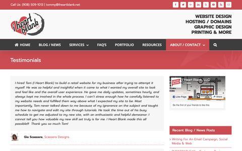 Screenshot of Testimonials Page iheartblank.net - Website Design Testimonials   I Heart Blank, LLC - Wordpress Websites - captured Oct. 1, 2018