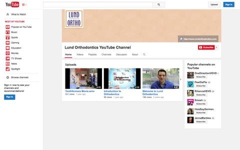 Screenshot of YouTube Page youtube.com - Lund Orthodontics YouTube Channel  - YouTube - captured Oct. 23, 2014