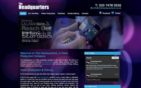 Screenshot of Home Page theheadquarters.co.uk - Video Production at The Headquarters - Corporate Video, Commercials, Motion Graphics and more - captured Sept. 30, 2014