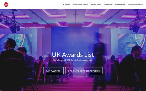 Screenshot of Home Page awards-list.co.uk - Free List of Business Awards - UK Awards List - captured Jan. 4, 2018