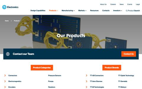 Screenshot of Products Page ttelectronics.com - TT Electronics - Electronics design, engineering and manufacture for OEMs - captured Dec. 21, 2018