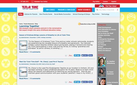 Screenshot of Blog tutortime.com - Learning Together Blog | Tutor Time - captured Dec. 4, 2016
