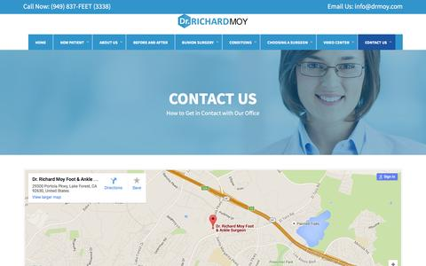 Screenshot of Contact Page drmoy.com - CONTACT US - Dr Richard Moy, DPM, Inc.Dr Richard Moy, DPM, Inc. - captured Feb. 10, 2016