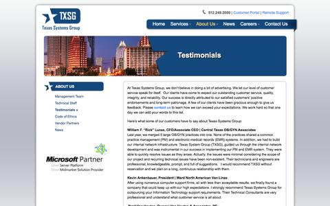 Screenshot of Testimonials Page txsg.com - Testimonials - Texas Systems Group - Managed IT Services - Austin Texas - captured Nov. 5, 2014