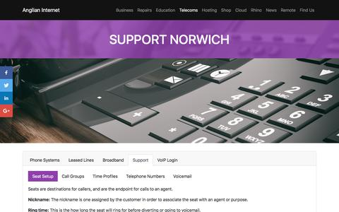Screenshot of Support Page anglianinternet.co.uk - Support - Anglian Internet | Support and VoIP Solutions in Norwich and Norfolk. - captured Dec. 29, 2017