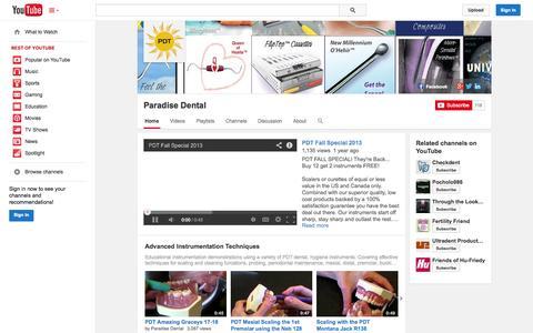 Screenshot of YouTube Page youtube.com - Paradise Dental  - YouTube - captured Oct. 22, 2014
