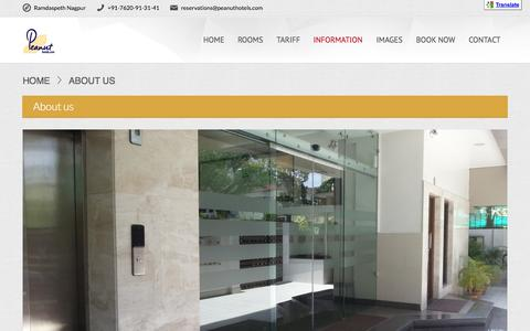 Screenshot of About Page peanuthotels.com - About Peanut Hotel Ramdaspeth Nagpur - captured Sept. 29, 2014