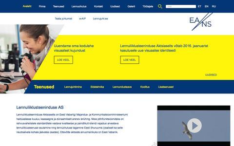 Screenshot of Home Page eans.ee - Avaleht - Lennuliiklusteeninduse AS - captured Jan. 30, 2016