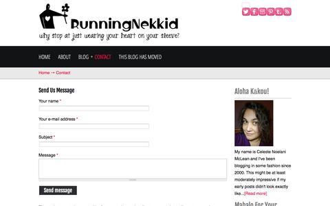 Screenshot of Contact Page runningnekkid.com - Contact | RunningNekkid - captured June 11, 2016