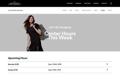 Screenshot of Hours Page simon.com - Hours for The Mills at Jersey Gardens® - A Shopping Center in Elizabeth, NJ - A Simon Property - captured Sept. 29, 2018