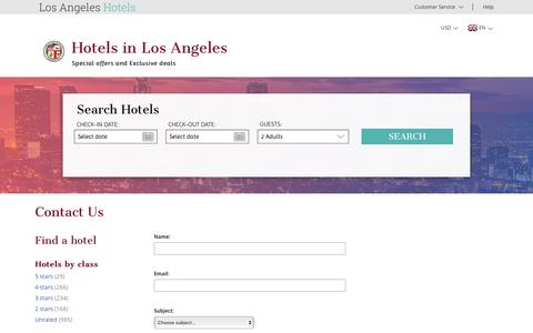 Screenshot of Support Page los-angeles-hotels-ca.com - Los Angeles hotel reservation – los-angeles-hotels-ca.com – Contact us - captured April 8, 2017