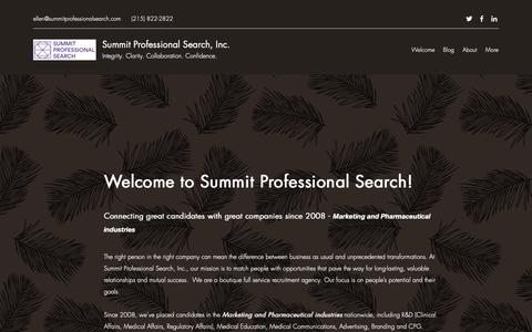 Screenshot of Home Page summitprofessionalsearch.com - Summit Professional Search, Inc.   Recruiter   Marketing & Pharma - captured Oct. 19, 2018
