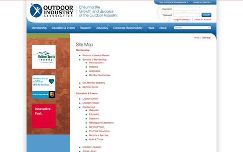 Screenshot of Site Map Page outdoorindustry.org - Site Map - Outdoor Industry Association - captured Sept. 22, 2014