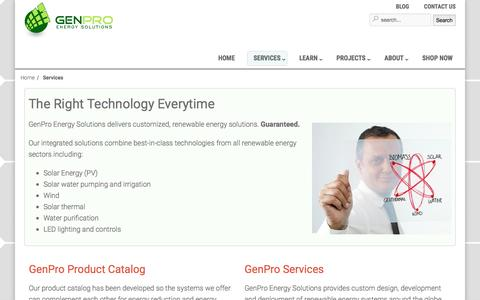 Screenshot of Services Page genproenergy.com - The Right Technology Everytime - GenPro Energy Solutions - captured Nov. 4, 2016