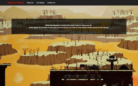 Screenshot of About Page malevolentgames.com - Malevolent Games - About Us - captured July 26, 2018