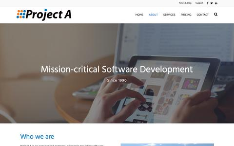 Screenshot of About Page projecta.com - About - Project A Inc. - captured July 23, 2018