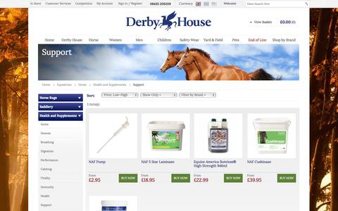 Screenshot of Support Page derbyhouse.co.uk - Support - Health and Supplements - Horse - Equestrian - Derby House - captured Sept. 23, 2014