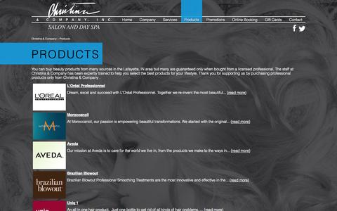 Screenshot of Products Page christinaspa.com - Products - Christina & Company  in Lafayette, IN - captured Oct. 2, 2014