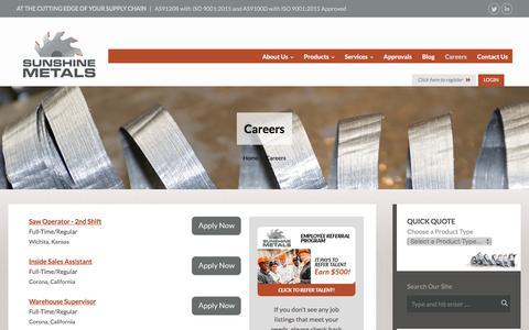 Screenshot of Jobs Page sunshinemetals.com - Sunshine Metals     Careers - captured Sept. 21, 2018