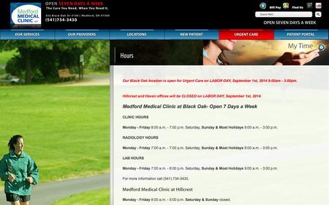 Screenshot of Hours Page medfordmd.com - Hours   Medford Medical Clinic - captured Oct. 27, 2014