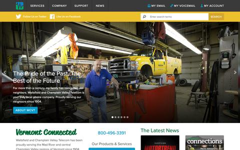 Screenshot of Home Page wcvt.com - Waitsfield and Champlain Valley Telecom, Green Mountain Access, Waitsfield Cable - captured Dec. 12, 2018
