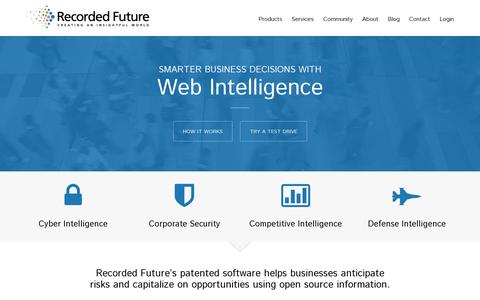 Screenshot of Home Page recordedfuture.com - Recorded Future: Web Intelligence Software - captured July 18, 2014