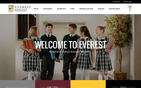 Screenshot of Home Page everestcatholic.org - Everest Collegiate High School & Everest Academy - Catholic Education in Michigan - Blog - captured May 26, 2016