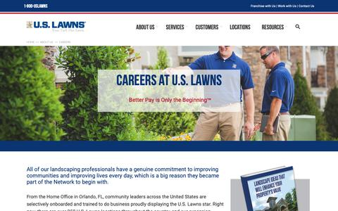 Screenshot of Jobs Page uslawns.com - Careers | U.S. Lawns - captured Oct. 20, 2018